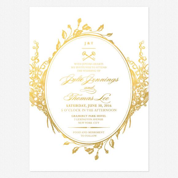 Antique Chic Foil Wedding Invitations