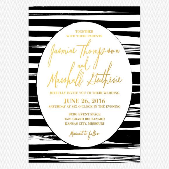 Black Stripes Foil Wedding Invitations