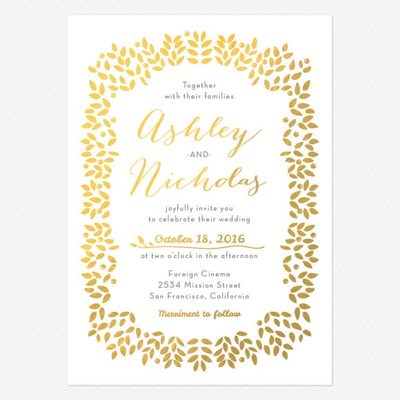 Blushing Leaves Foil Wedding Invitations
