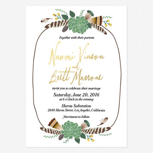 Bohemian Floral Foil Wedding Invitations