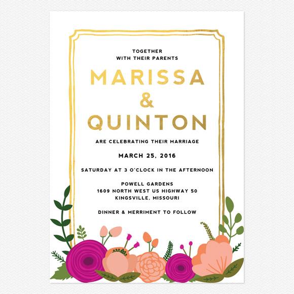 Bold Blooms Foil Wedding Invitations