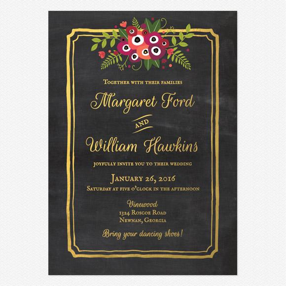 Chalkboard Blossom Wedding Invitations