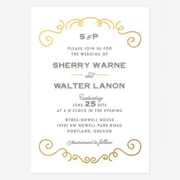 Curly Foil Wedding Invitations