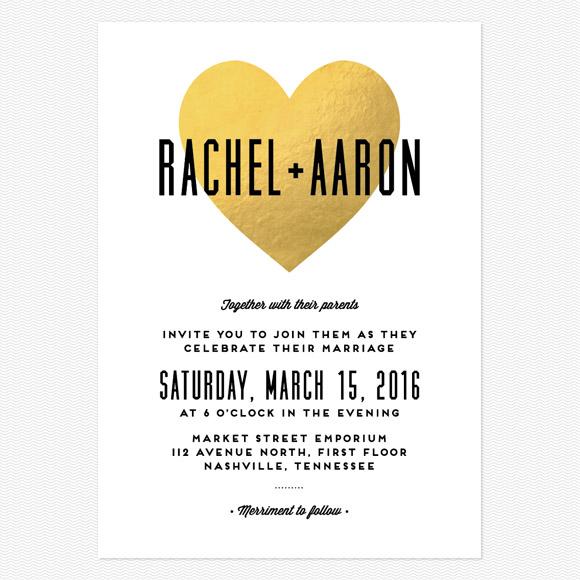 Heart in Hand Foil Wedding Invitations