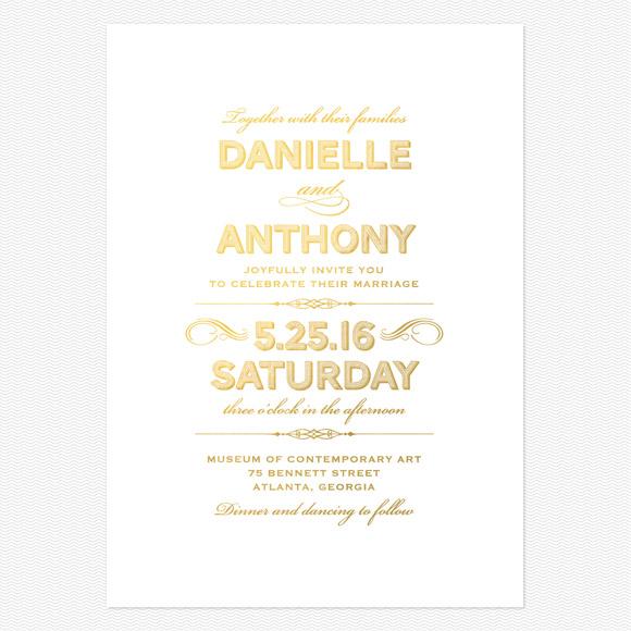 Lovely Vintage Foil Wedding Invitations