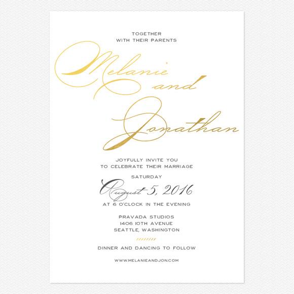 Modern Script Foil Wedding Invitations