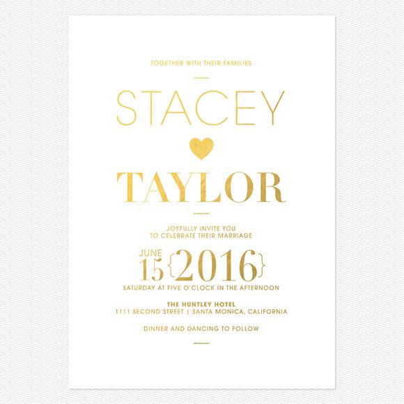 Refined Type Foil Wedding Invitations