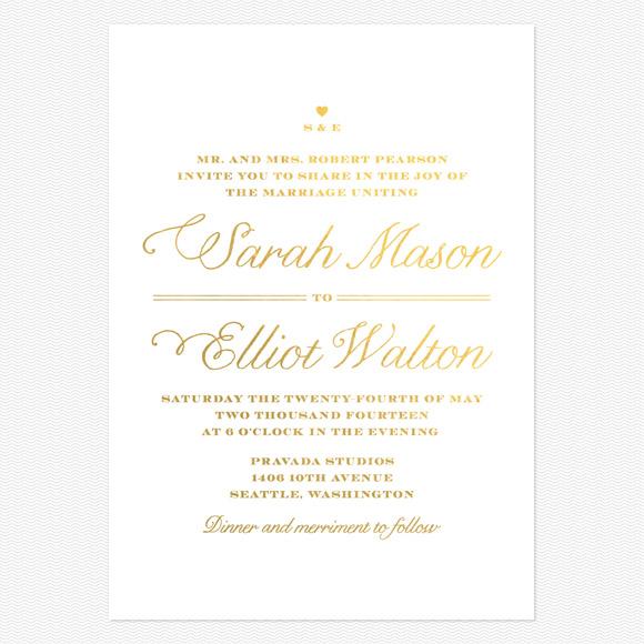 Rustic Chic Foil Wedding Invitations