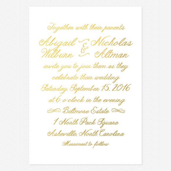 Rustic Elegance Gold Foil Wedding Invitations