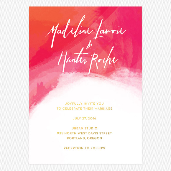 Watercolor Foil Wedding Invitations