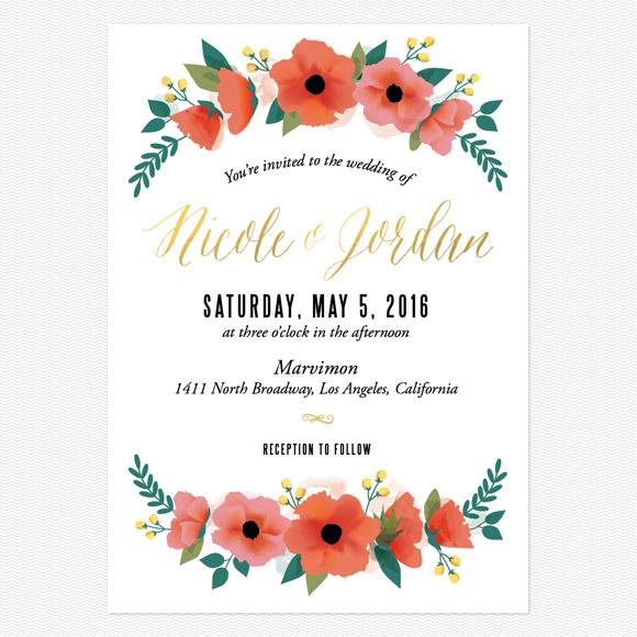 Watercolor Floral Foil Wedding Invitations