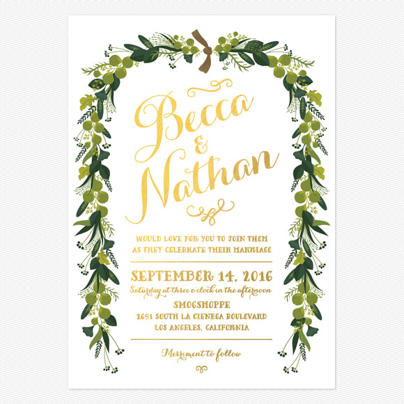 Wreath Gold Foil Wedding Invitations
