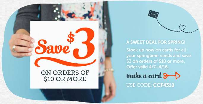 Save $3 on Orders of $10 or More at Cardstore! Use Code: CCF4310, Valid 4/7-4/12/14. Shop Now!
