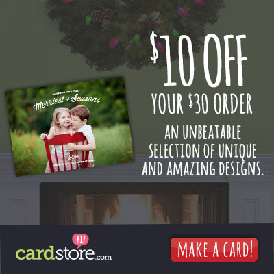 Affiliate Exclusive! Save $10 off Any Order $30+ at Cardstore! Use Code: CAM3849, Valid through 11/20/13. Shop Now for Holiday Cards, Invites & More!