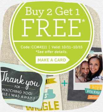 Buy 2, Get 1 Free Sitewide at Cardstore! Use Code: CCM4111, Valid 10/11 through 10/15/14. Shop Now!