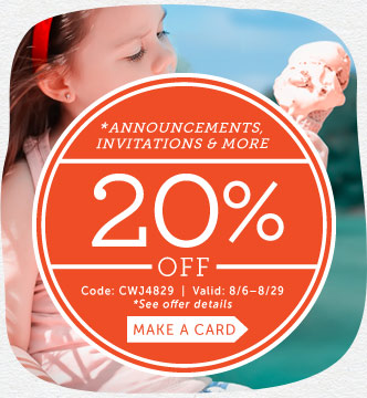 Save 20% on Announcements, Invites, Save-the-Dates, Photo Cards & Note Cards at Cardstore! Use Code: CWJ4829. Valid through 8/29/14. Shop Now!