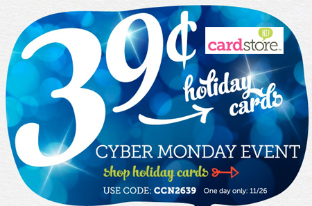 Cyber Monday Event! $0.39 Holiday Cards & Invitations + FREE Shipping