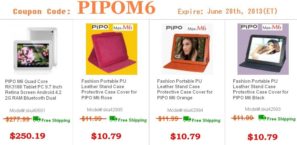10% Off for PIPO M6 Tablet PC
