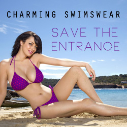 Charming swimswear, Save the entrance
