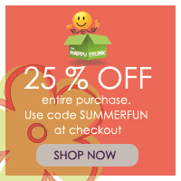 Memorial Day Sale: Save 25% off of your entire purchase at thehappytrunk.com. Use code: summerfun. Free Shipping! Sale runs 5/22 - 5/25.