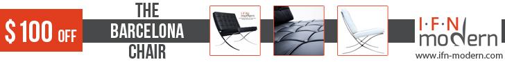Get $100 off Classic Modern Barcelona Chair 728x90
