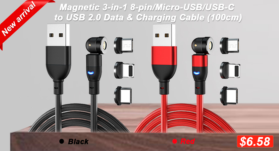 Magnetic 3-in-1 8-pin/Micro-USB/USB-C to USB 2.0 Data & Charging Cable (100cm), 540' rotation / 3A fast charging / LED indicator light / w/ magnetic plug storage box