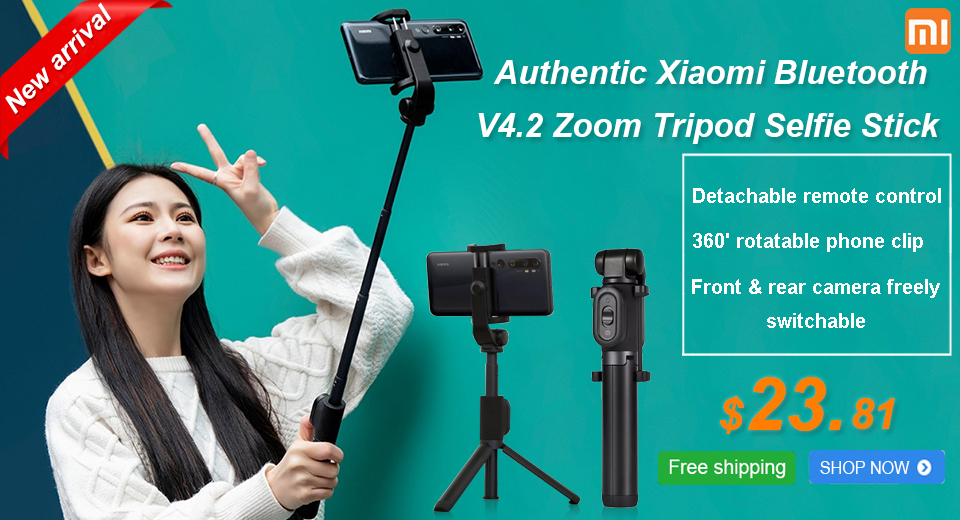 Authentic Xiaomi Bluetooth V4.2 Zoom Tripod Selfie Stick detachable remote control / 360' rotatable phone clip / front & rear camera freely switchable