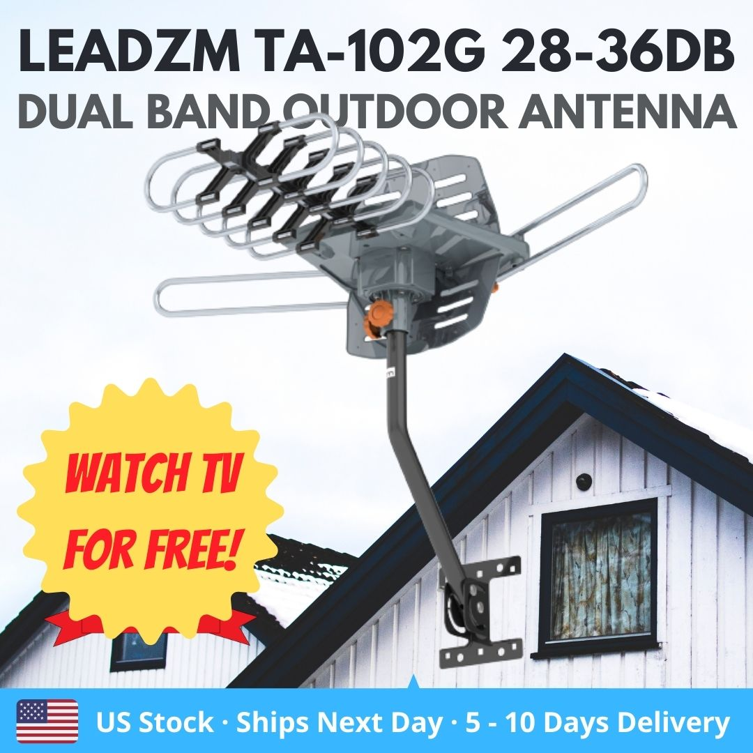 US Stock Leadzm TA-102G 28-36dB 360' Rotation UV Dual Band Outdoor Antenna (US) VHF 40-300MHz & UHF 470-890MHz / built-in signal amplifier / 150 miles signal receriving distance