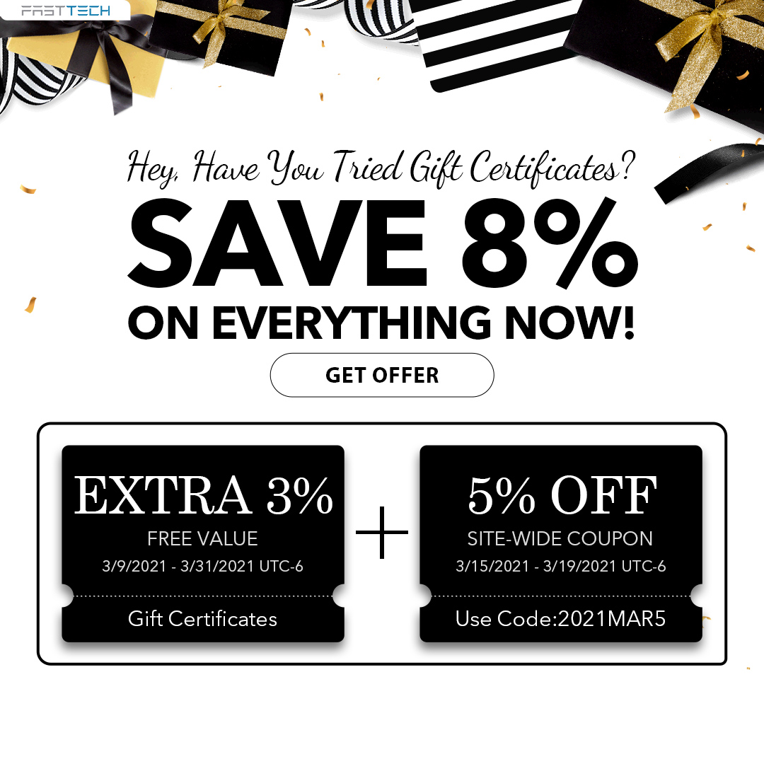 fasttech.com - Hey, Have You Tried Gift Certificates? Save 8% on Everything Now!
