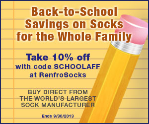 Save 10% on Back to School Socks with code SCHOOLAFF