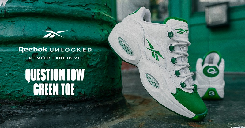 Shame Emeralds - QUESTION LOW GREEN TOE drops 5/14 exclusively for Reebok UNLOCKED members.