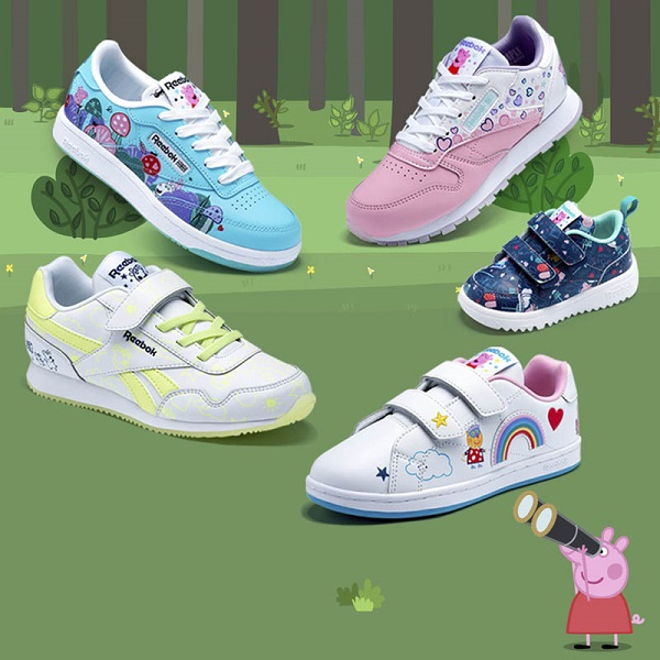 PEPPA PIG X REEBOK: Embrace your inner Peppa, George and Teddy in a selection of oink-a-liscious designs inspired by the world's most famous pig.
