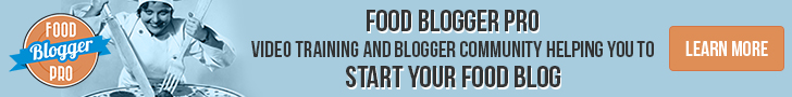 A banner that reads Food Blogger Pro: Video training and blogger community helping you to start your food blog.