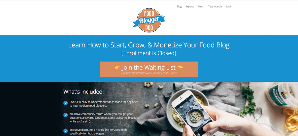 screenshots from food blogger pro