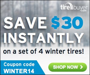 $30 Off Any Set of 4 Winter Tires + Coupon Code WINTER14 – TireBuyer.com