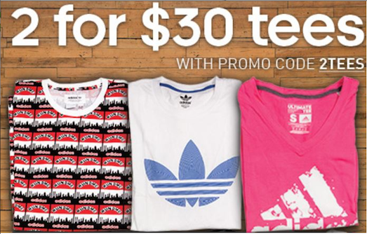 2 adidas Graphic & Ultimate Tees for $30