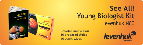 See all! Young biologist kit includes colorful user manual, 80 prepared slide, 40 blank slides from Levenhuk .