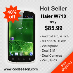 40% off Haier W718 only $85.99 & Free Shipping, Android 4.0, 4 inch, 1GHz, Waterproof