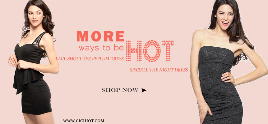 More ways to be hot! Lace Shoulder Peplum Dress make you sparkle the night .