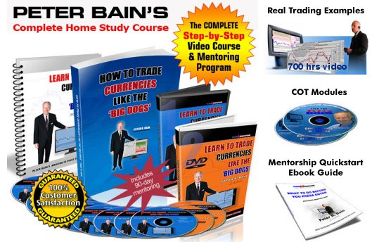 How To Trade Currencies Like The Big Dogs forex course including 90 day Mentoring, Peter Bain's Complete Home Study Forex Course, step by step video Course and mentoring program