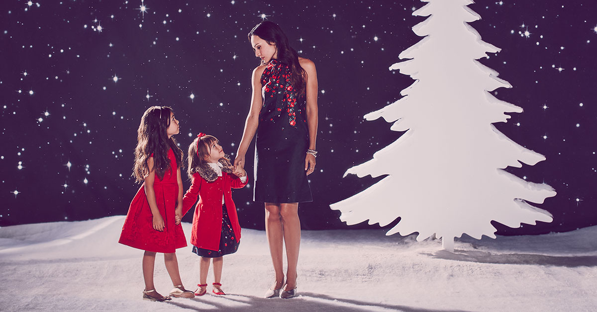 Mother & Children photos mother and daughters in holiday christmas clothing at night with stars tree
