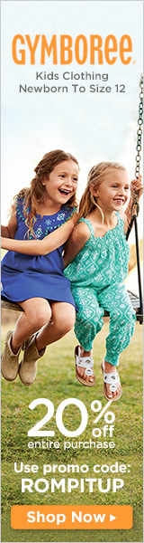 Gymboree: 20% off with code: ROMPITUP