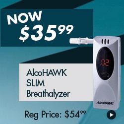 AlcoHAWK Slim Breathalyzer for just $35.99 - regular price $54.99!