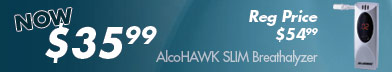 AlcoHAWK Slim Breathalyzer for just $35.99 - regular price $54.99!