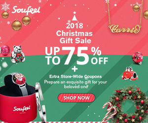 2018 SOUFEEL CHRISTMAS GIFT SALE! UP TO 75% OFF! Plus Extra Store-Wide Coupons! Prepare an exquisite gift for your beloved one. - Sale ends 12/26