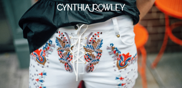 Cynthia Rowley Embroidered Pants