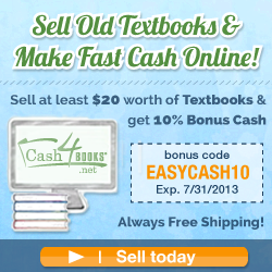 Sell $20 in textbooks, get 10% bonus cash at Cash4Books.net!