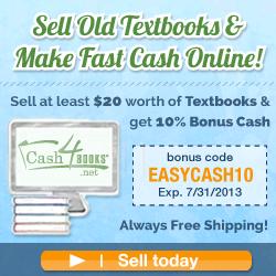 Sell $20 in textbooks, get 10% bonus cash at Cash4Books.net!