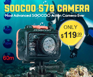 SOOCOO S70 Action Camera 2K 60 FPS 60M Waterproofs Build-in WIFI with Watch. Most Advanced SOOCOO Action Camera Ever.