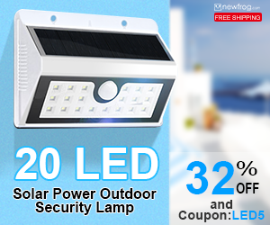 20 LED Solar Power Outdoor Security Lamp-32% Off and Coupon:LED5